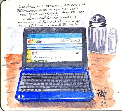 My Acer netbook, pen & watercolor, from my watercolor journal. Robert A. Sloan