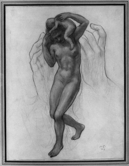 Kahlil Gibran Painting - The Burden - Hands, Female, Nude Baby