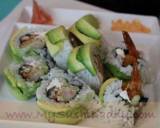 Green Dragon Shrimp Tempura Sushi Roll