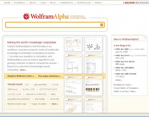 WolframAlpha Home Page