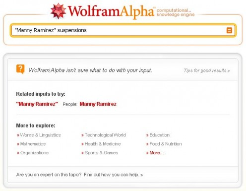 "WolframAlpha is asked to search for ""Manny Ramirez"" suspensions"