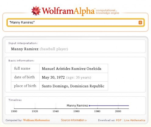 "WolframAlpha searches for ""Manny Ramirez"" and provides results that are correct but not probably not in line with expectations"