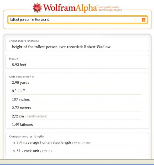 WolframAlpha locates the tallest man in the world