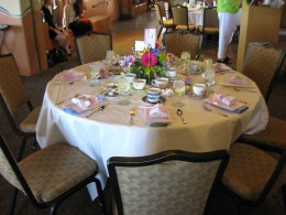 Elegant table setting for the tea party and fashion show at Hacienda del Sol in Tucson, AZ