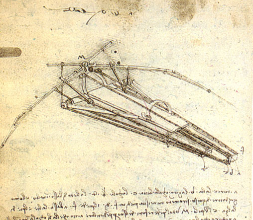 A design for a flying machine, (c. 1488) Institut de France, Paris