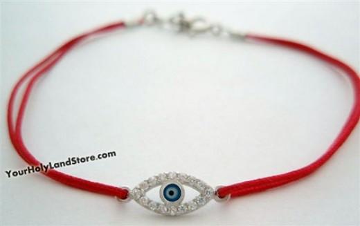 Red String KABBALAH BRACELET with Zircon Evil Eye Charm