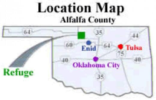 Location of Great Salt Plains State Park and Wildlife Refuge.