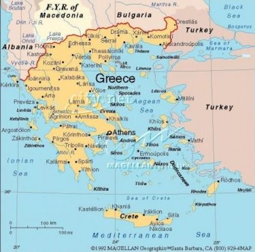 Map of modern Greece