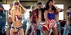 lady gaga telephone costumes  - lady gaga american flag