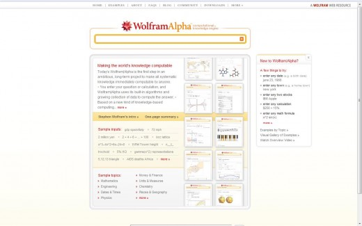 This is a screenshot of the Wolfram Alpha homepage shortly after launch on 18th May 2009.