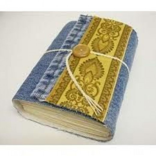Recycled denim jean book cover