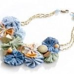 Recycled denim jean necklace