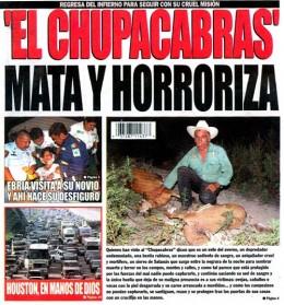Tabloid cover featuring El Chupacabra; Google images
