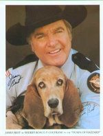 Flash, the Basset Hound, with Sheriff Rosco P. Coltrane (James Best)