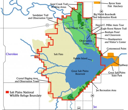 Map of the Great Salt Plains Wildlife Refuge State Park and National Wildlife Refuge area.