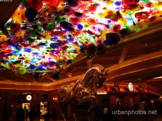 A Dale Chihuly exhibit in the Bellagio lobby, February 2003. The Bellagio lobby is pretty much a tourist attraction all by itself.