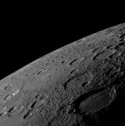 Photo of Mercury's horizon that was taken by MESSENGER Narrow Angle Camera (NAC) on January 14, 2008, from a   distance of 11,000 miles as the spacecraft neared its closest approach to the planet. (Image: NASA/Johns Hopkins   University APL/Carnegie
