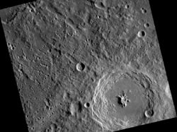 Image taken by MESSENGER on April 25, 2011, shows the complex crater Bartok, named for the Hungarian composer and pianist Bela Bartok, including its prominent central peak. (Image: NASA/Johns Hopkins APL/Carnegie Institution of Washington)