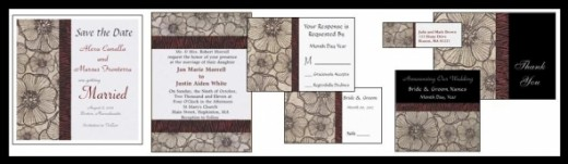 Black and Gray Poppy Wedding Invitation Collection