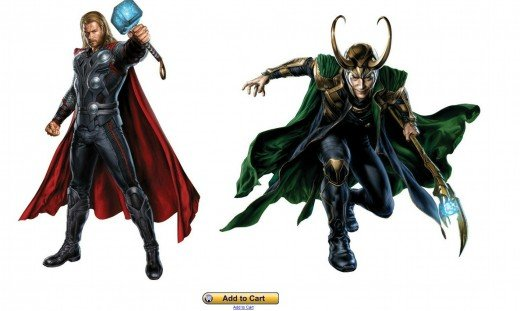 Thor and Loki Vinyl Wall Decals