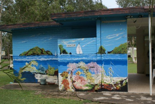 Mural on toilet block