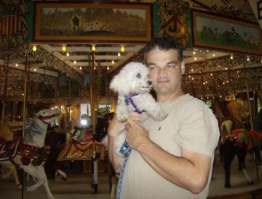 Daddy and I in front of the Grand Carousel.