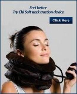 woman using neck stretcher