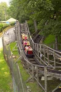 The wood Rollo Coaster's track was built from trees cut on the property.  At 27 feet high, reaching a top speed of 25mph, Rollo Coaster is great first coaster for kids and great fun for adults.