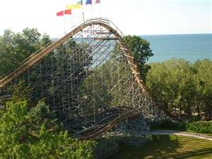 The Ravine Flyer II plunges 120 feet into a ravine.