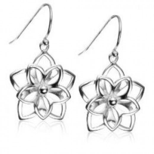 Sterling Silver Open Flower Earrings
