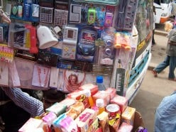 Street peddlers selling an array of items
