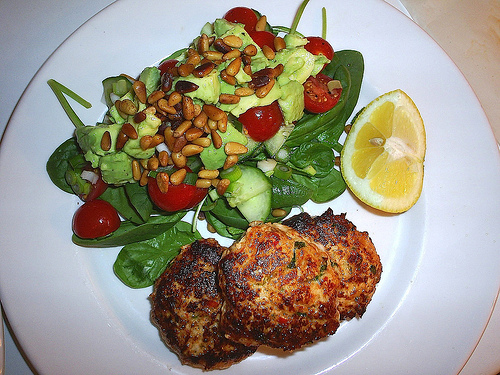 Turkey & Pepper Burgers Served with Leafy Salad (Photo courtesy by stuart and jen from Flickr)