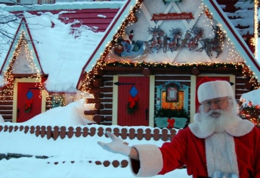 Santa welcomes everyone to his house.