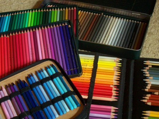 Colored pencils are delicate. Protect the soft-core ones with elastic band cases or foam or flannel pads inside their tins.