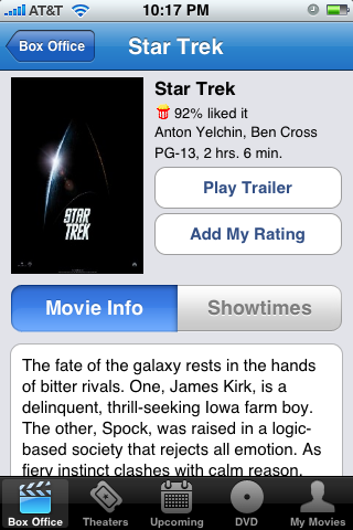 Movie details with view trailer option and ratings