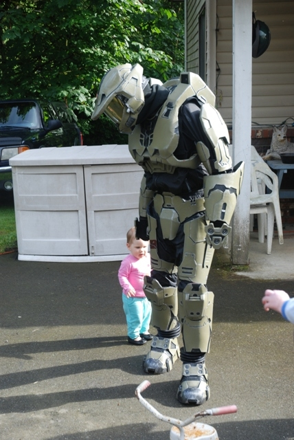 This little one would only approach from behind, and eventually touched the wierd spaceman! When it rubbed her head with a soft glove in return she ran off.