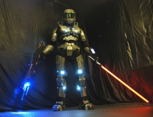 What? It's not a lightsaber it's a... ahh... umm... Spartan Lasersaber, yeah, that's it a spartan lasersaber.