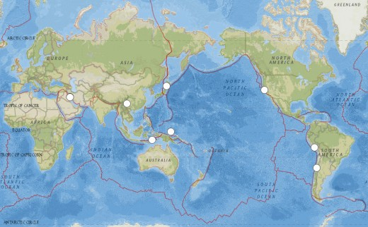USGS map of worldwide earthquakes of at least 6.0 magnitude for the month of August, 2014.