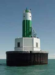 Lake St. Clair Light on the freighter channel boundary between the U.S. and Canada