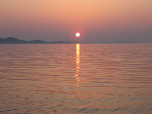 Sunset on island Pag, Croatia
