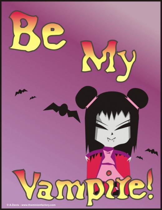 Halloween Vampire and Bats Cartoon by Abie Davis