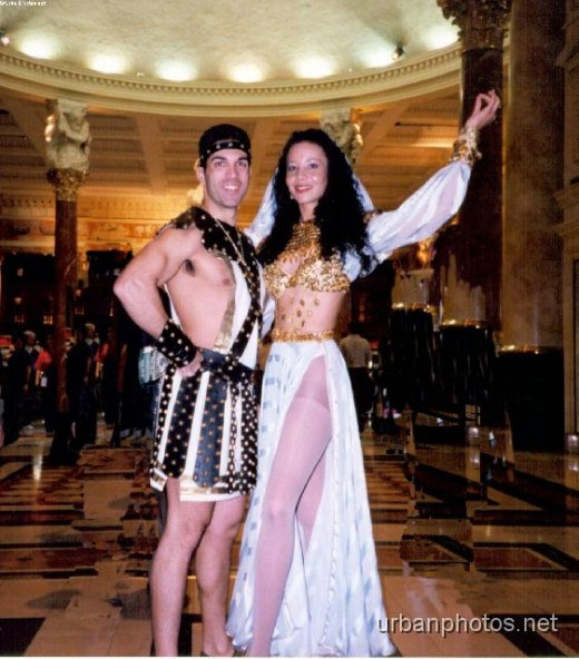 Caesar and Cleopatra at Caesars Palace, around 1998.