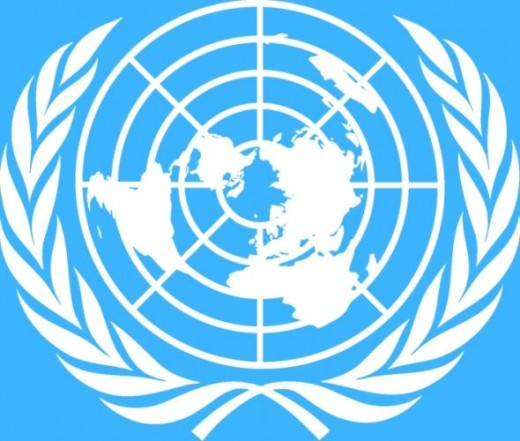 The UN Emblem and Check out the dot... :)