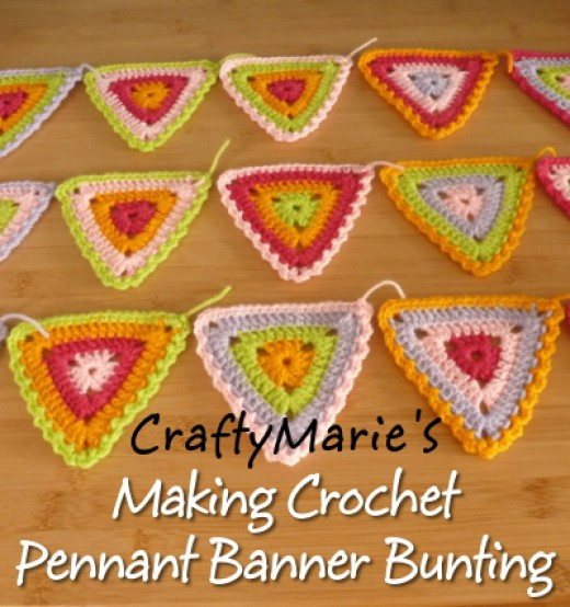 Bright Summer Crochet Pennant Banner Bunting Ideal for Parties