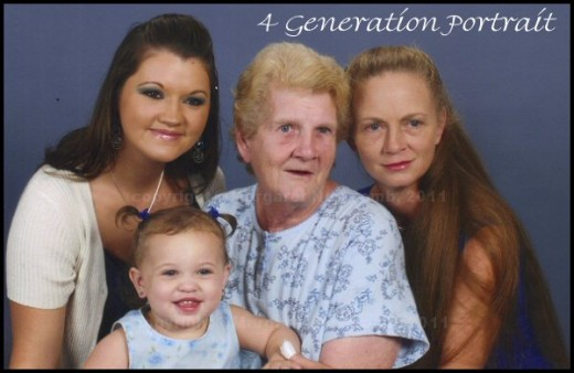 Right to left: Myself, my MOMMA Marjorie, daughter Sylvia, grand-daughter, Aspen