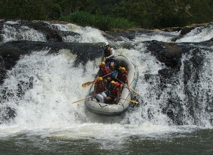 One of many class VI rapids you'll experience on the River Nile.