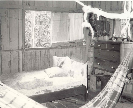 Bedroom, House of 3 Sisters. Note--no screens because there are no mosquitos on this part of the Amazon.