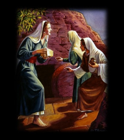Women with spices came to take care of the Jesus' body