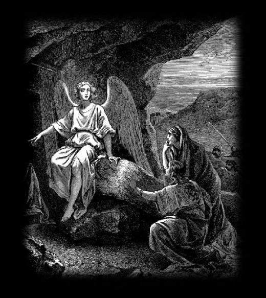 Women meeting God's angel by Jesus Christ's tomb