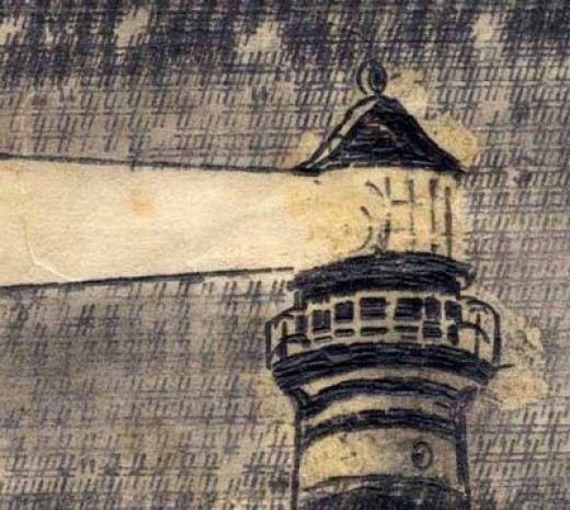 """""""Lighthouse on a Starry Night"""" Detail"""